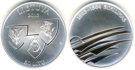Lithuania 1863-1864 Uprising 50 Litas Silver Coin