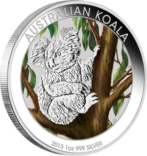 2013 Colored Silver Koala Coin