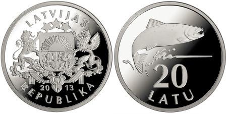 2013 Silver Salmon 20 Lats Coin