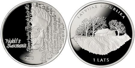 Rūdolfs Blaumanis 1 Lats Silver Coin