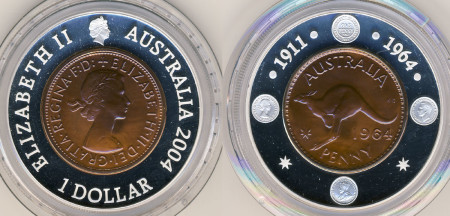 2004 1964 Penny 40th Anniversray of the Last Australian Penny Silver Dollar