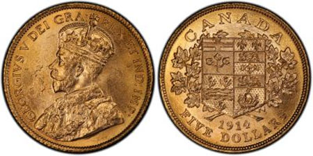 Canada 1914 $5 Gold Coin PCGS MS64 (Reader Contributed Image)