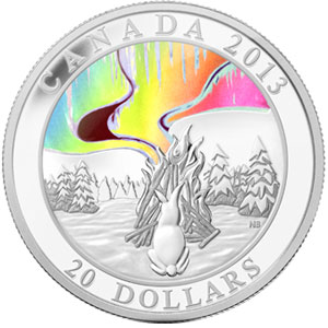 Silver Hologram Coin Northern Lights
