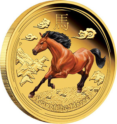 Year of the Horse Colored Gold Coin