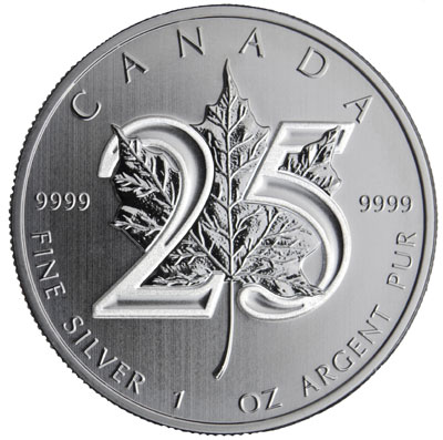 2013 25th Anniversary Silver Maple Leaf
