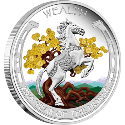 2014 Year of the Horse Wealth Silver Coin
