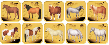 Ten Coin Square Year of the Horse Gold Coins