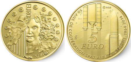 50 Years of European Space Cooperation Gold Coin