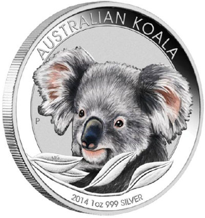2014 Australian Koala Colored Silver Coin