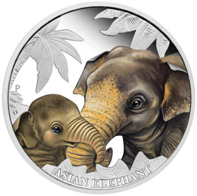 2014 Mother's Love Elephant Silver coin