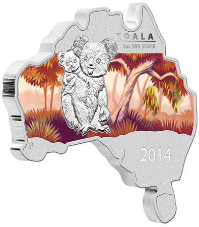 2014 Koala Map Shaped Silver Coin