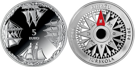 latvia  Ainaži Nautical School 5 euro silver coin