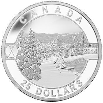 2014 Skiing Canada's Slopes Silver Coin
