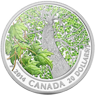 2014 Canadian Maple Canopy Spring Silver Coin