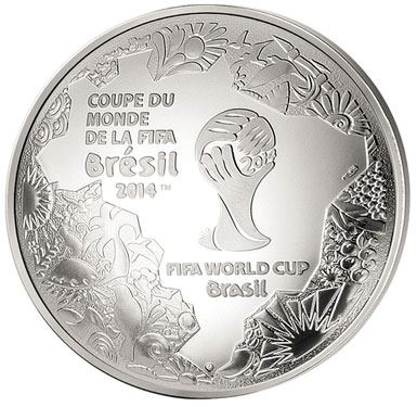 France 2014 FIFA World Cup in Brazil Domed Silver Coin