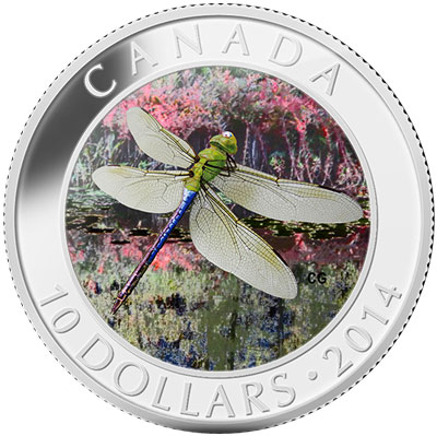 Green Darner Dragonfly Silver Coin