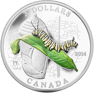 2014 Caterpillar and Chrysalis Silver Coin