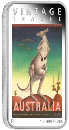 Australian Vintage Travel Poster Kangaroo Silver Coin