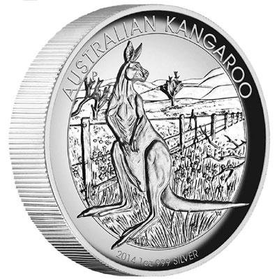 2014 Australian Kangaroo High Relief Silver Coin