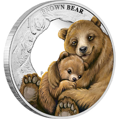 Brown Bear Silver Coin
