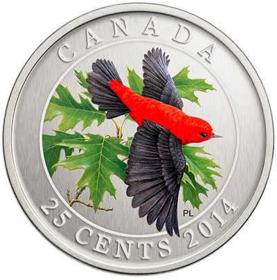 Scarlet Tanager 25 Cent Coin