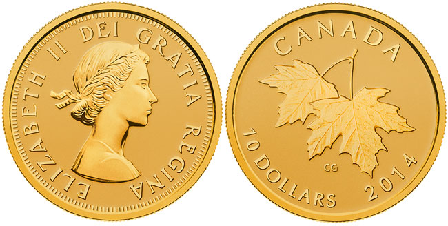 Queen Elizabeth II Gold Maple Leaves