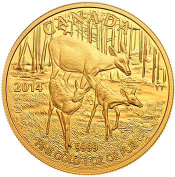 2014 White Tailed Deer Gold Coin