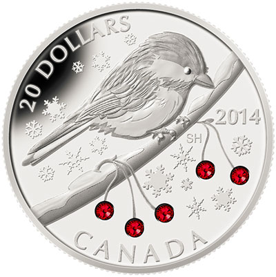 2014 Chickadee with Winter Berry Elements Silver Coin