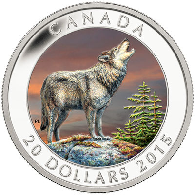 2015 Colored Wolf Silver Coin