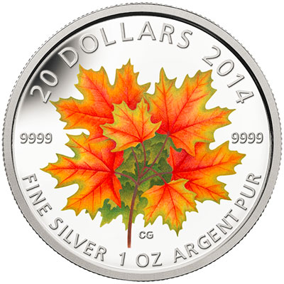 2014 Glow in the Dark Maple Leaves Coin