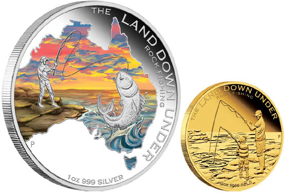 Land Down Under Rock Fishing Coins