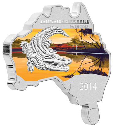 Map Shaped Coin Saltwater Crocodile