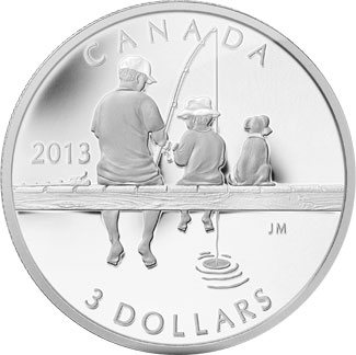 2013 Canada Fishing Silver Coin