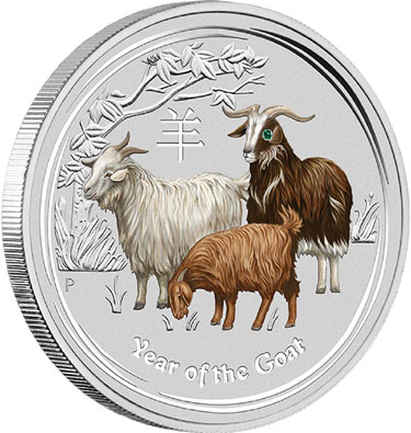 2015 Year of the Goat 1 Kilo Silver Coin Gemstone Edition