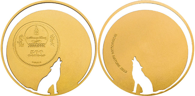 2013 Mongolian Nature Wolf Gold Coin