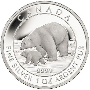 Polar Bear and Cub Silver Coin