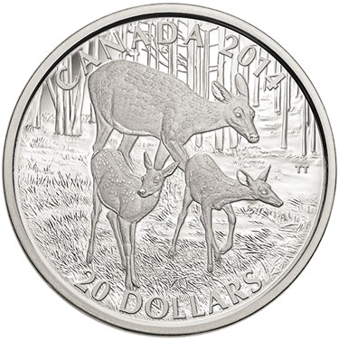 White-Tailed Deer: A Doe and Her Fawns Silver Coin