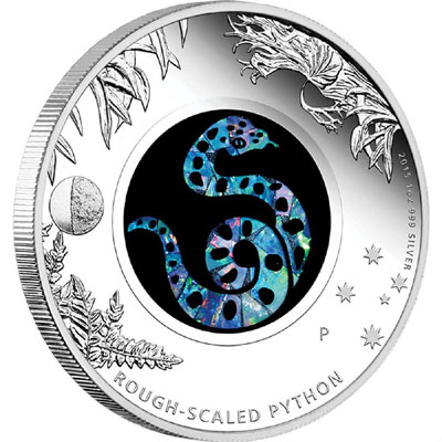 2015 Australian Opal Rough Scaled Python Silver Coin