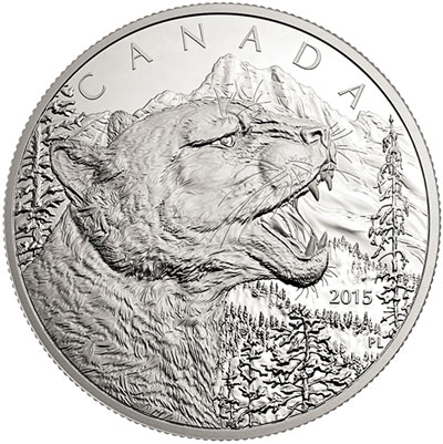 Growling Cougar 1/2 Kilogram Silver coin