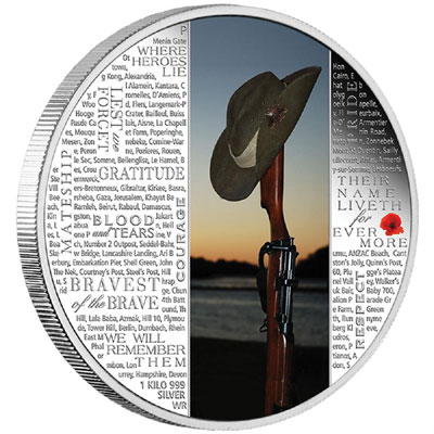 Lest We Forget 1 Kilo Silver Proof Coin