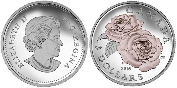 CA.2016 $3 Fine Silver Coin - Queen Elizabeth Rose ObverseBOTH