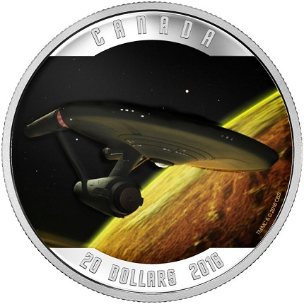 canada 2016 star trek $20 enterprise single coinSMALL