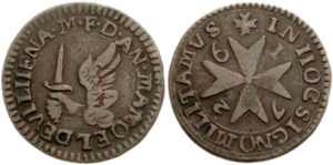 Maltese copper grano, dated 1726, with the classic Maltese Cross.