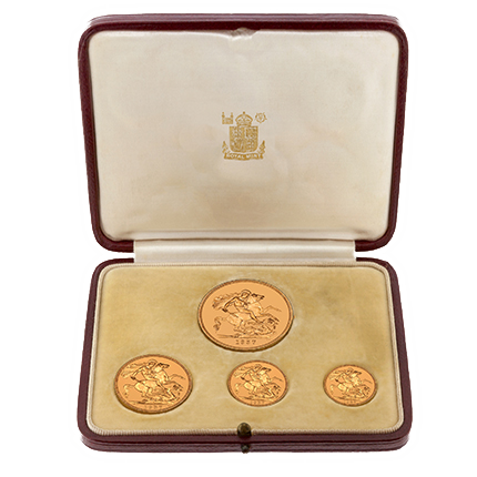 Four-coin Proof set of 1937, issued in honor of the coronation of George VI.