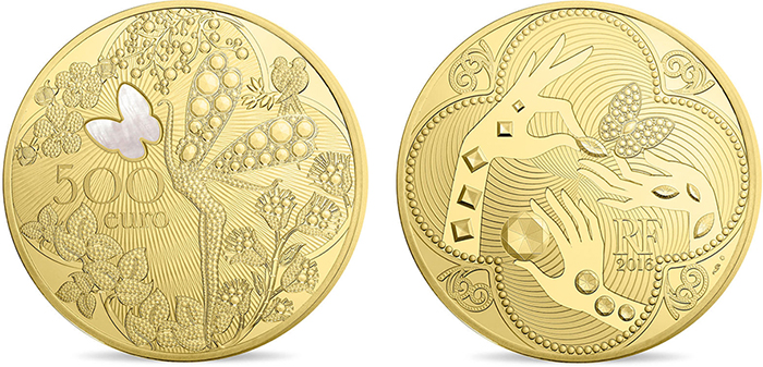 Van Cleef and Arpels €500 gold Proof.