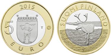 "Finland, 5 euro (bimetallic), ""Lapland Reindeer"" (KM-224)"