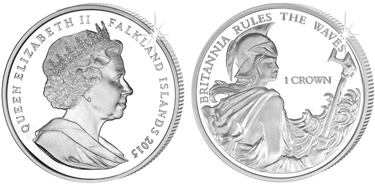 "Falkland Islands, 1 crown (silver), ""275th Anniversary of Rule Britannia"" (KM-174a)"