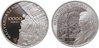 "Hungary, 10,000 forint (silver), ""110th Anniversary of the Building of the Magyar Bank and the 150th Anniversary of the Birth of Miksa Roth"" (KM-884)"