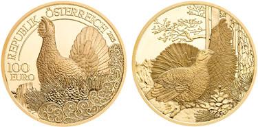 """Austria, 100 euro (gold), """"Capercaille"""" (KM-3246)"""
