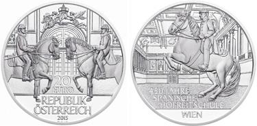 "Austria, 20 euro (silver), ""450th anniversary of the Spanish Riding School"" (KM-3239)"